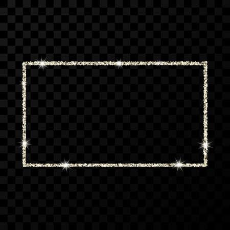 Silver glitter frame. Rectangle vertical frame with shiny stars and sparkles on dark transparent background. Vector illustration Ilustracja