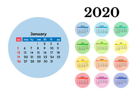 Calendar for 2020 isolated on a white background. Sunday to Monday, business template. Vector illustration 向量圖像
