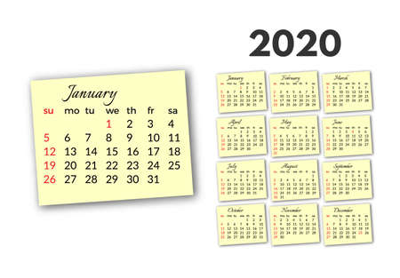 Calendar for 2020 isolated on a white background. Sunday to Monday, business template. Vector illustration Banque d'images - 131958340