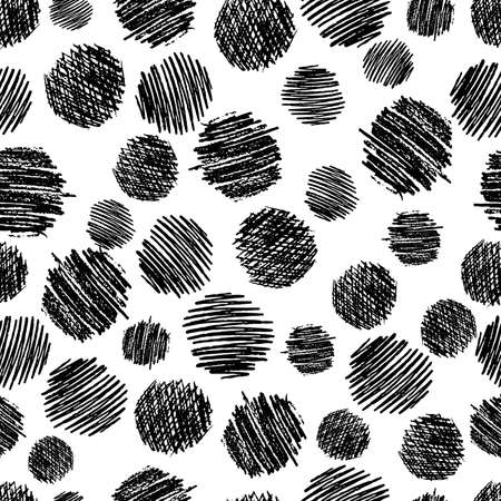 Seamless pattern with hand drawn black circle scribble smear. Abstract grunge texture. Vector illustration