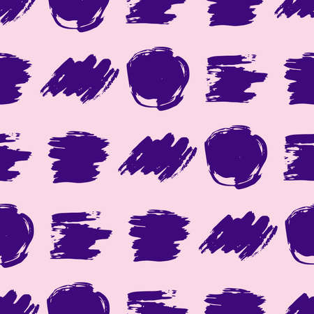 Seamless pattern with purple hand drawn scribble smear. Abstract grunge texture. Vector illustration