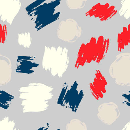 Seamless pattern with colorful hand drawn scribble smear. Abstract grunge texture. Vector illustration