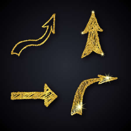 Gold glitter hand drawn arrow. Set of four doodle arrows with gold glitter effect on dark background. Vector illustration