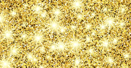 Golden glittering background with gold sparkles and glitter effect. Banner design. Empty space for your text.  Vector illustration  イラスト・ベクター素材
