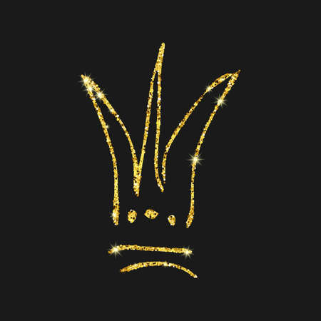 Gold glitter hand drawn crown. Simple graffiti sketch queen or king crown. Royal imperial coronation and monarch symbol isolated on dark background. Vector illustration. Иллюстрация