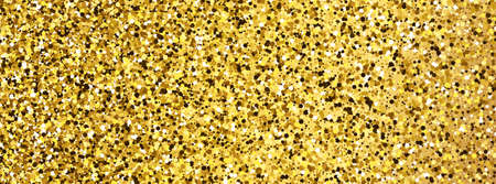 Golden glittering background with gold sparkles and glitter effect. Banner design. Empty space for your text.  Vector illustration Illustration
