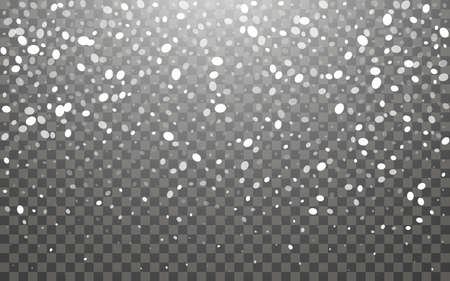 Snowfall and falling snowflakes on dark transparent background. White snowflakes and Christmas snow. Vector illustration Illustration