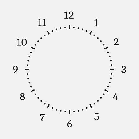 Clock face on a white background. 12 hours watch dial with round scale. Vector illustration