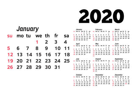 Calendar for 2020 isolated on a white background. Sunday to Monday, business template. Vector illustration Illustration