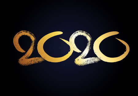 2020 hand drawn numbers. Grunge calligraphy lettering in gold isolated on dark background. Happy New Year and happy holidays. Vector illustration. Illustration