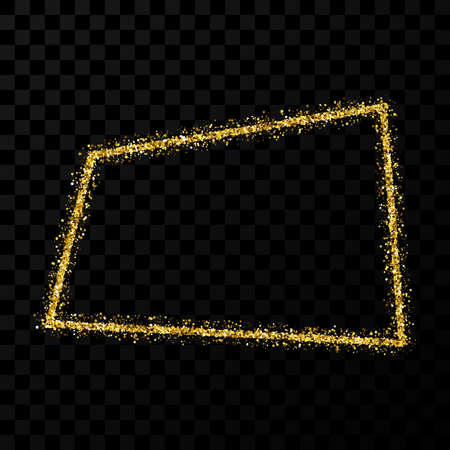 Gold glitter frame. Rectangle frame with shiny sparkles on dark transparent background. Vector illustration