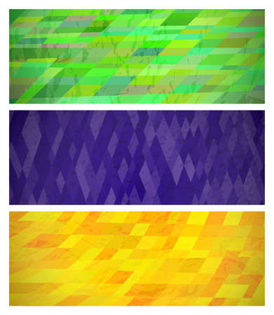 Abstract background with colorful rectangles. Set of three beautiful futuristic dynamic geometric banner design pattern. Vector illustration Illustration
