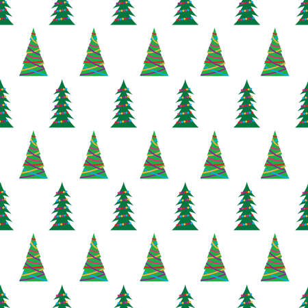 Christmas seamless pattern with green Christmas trees with colorful toys, balls and garlands. Vector illustration