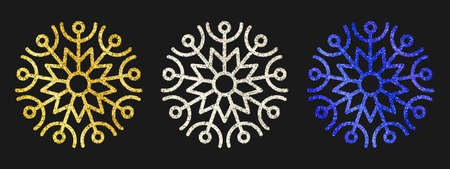 Glitter snowflakes on dark background. Set of  three gold, silver and blue glitter snowflakes. Christmas and New Year decoration elements. Vector illustration.