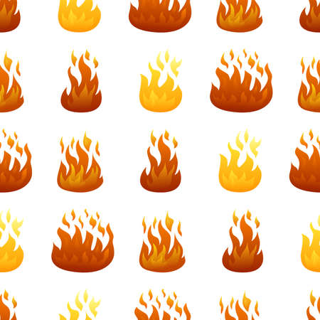 Seamless pattern with fire flame on white background. Vector illustration. Illustration