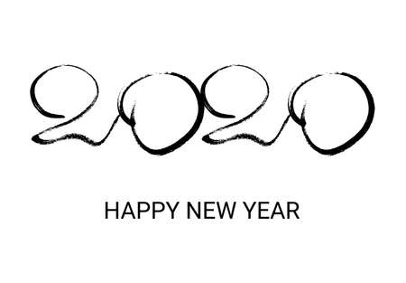 2020 hand drawn numbers. Grunge calligraphy lettering in black isolated on white background. Happy New Year and happy holidays. Vector illustration.