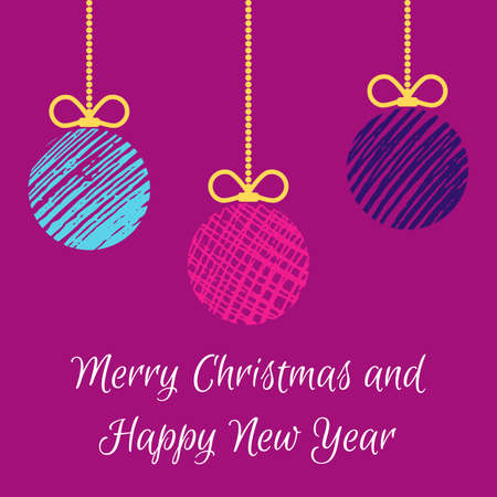 Hand drawn christmas balls. Mulicolored doodle christmas balls on purple background. Winter holiday greeting card. Vector illustration Illustration
