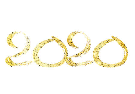 2020 hand drawn numbers. Grunge calligraphy lettering in gold glitter isolated on white background. Happy New Year and happy holidays. Vector illustration.