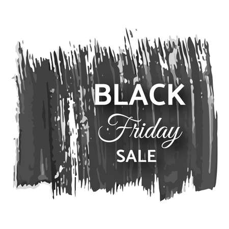 Black friday sale banner. White text on dark grunge brush stroke. Vector illustration