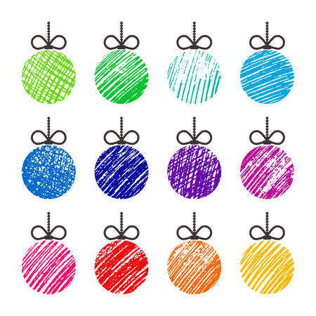 Hand drawn christmas balls. Set of twelve multicolored doodle christmas balls isolated on white background. Winter holiday elements. Vector illustration