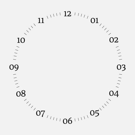 Clock face on a white background. 12 hours watch dial with round scale. Vector illustration Illustration
