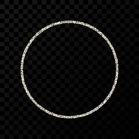 Silver glitter frame. Circle frame with shiny sparkles on dark transparent background. Vector illustration
