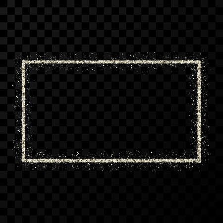 Silver glitter frame. Rectangle vertical frame with shiny sparkles on dark transparent background. Vector illustration