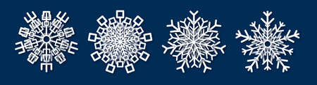 Paper cut snowflake. Set of four white snowflakes on blue background. Christmas and New Year decoration elements. Vector illustration