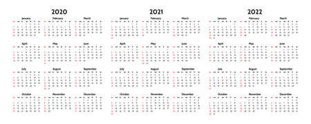 Set of three calendars for 2020, 2021 and 2022 isolated on a white background. Sunday to Monday, business template. Vector illustration Illustration