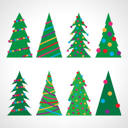 Set of eight Christmas trees with Christmas balls and decorations. Vector illustration. Illustration
