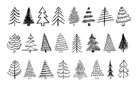 Hand drawn Christmas trees. Set of sixteen monochrome sketched illustrations of firs.  Winter holiday doodle elements. Vector illustration Illustration