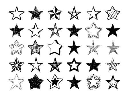 Doodle stars. Set of thirty black hand drawn stars isolated on white background. Vector illustration