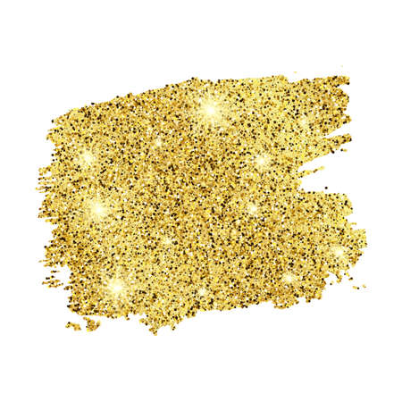 Golden Paint Glittering backdrop on a white background. Background with gold sparkles and glitter effect. Empty space for your text.  Vector illustration