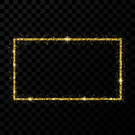 Gold glitter frame. Rectangle vertical frame with shiny stars and sparkles on dark transparent background. Vector illustration