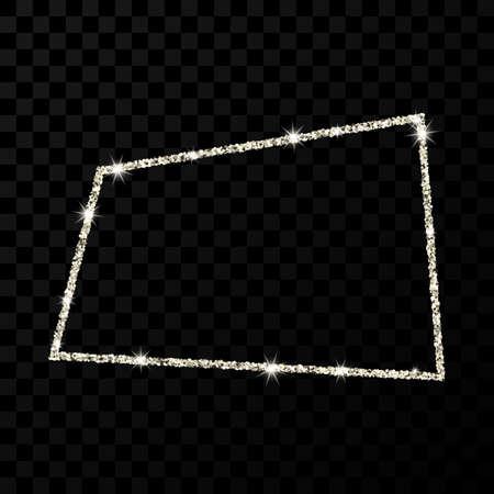 Silver glitter frame. Rectangle frame with shiny stars and sparkles on dark transparent background. Vector illustration 向量圖像