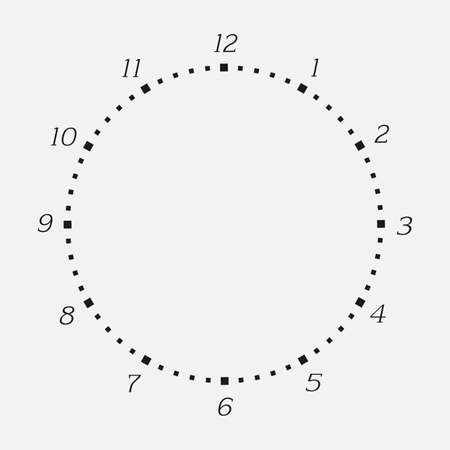 Clock face on a white background. 12 hours watch dial with round scale. Vector illustration Çizim