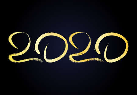 2020 hand drawn numbers. Grunge calligraphy lettering in gold isolated on dark background. Happy New Year and happy holidays. Vector illustration. Ilustrace