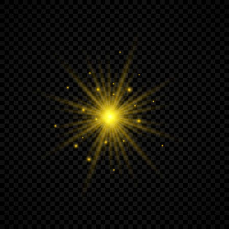 Light effect of lens flares. Yellow glowing lights starburst effects with sparkles on a transparent background. Vector illustration