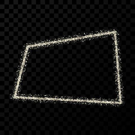 Silver glitter frame. Rectangle frame with shiny sparkles on dark transparent background. Vector illustration