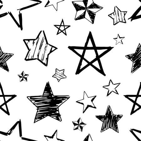 Seamless background of doodle stars. Black hand drawn stars on white background. Vector illustration Vektorové ilustrace