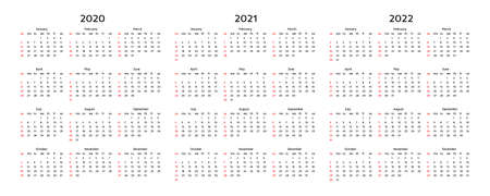 Set of three calendars for 2020, 2021 and 2022 isolated on a white background. Sunday to Monday, business template. Vector illustration