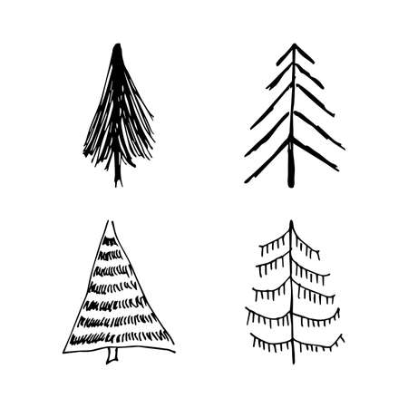 Hand drawn Christmas trees. Set of four monochrome sketched illustrations of firs. Winter holiday doodle elements. Vector illustration