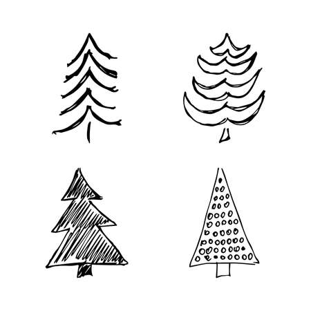 Hand drawn Christmas trees. Set of four monochrome sketched illustrations of firs.  Winter holiday doodle elements. Vector illustration Illustration