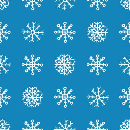 Fondo senza cuciture dei fiocchi di neve disegnati a mano. Fiocchi di neve bianchi su sfondo blu. Elementi di decorazione di Natale e Capodanno. Illustrazione vettoriale.