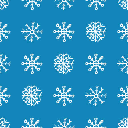 Seamless background of hand drawn snowflakes. White snowflakes on blue background. Christmas and New Year decoration elements. Vector illustration.