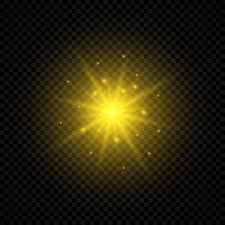 Light effect of lens flares. Yellow glowing lights starburst effects with sparkles on a transparent background. Vector illustration Archivio Fotografico - 134648480