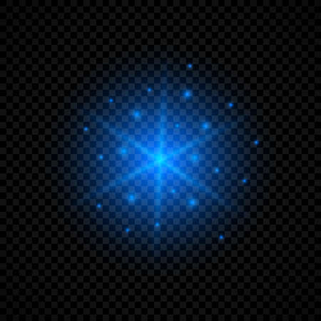 Light effect of lens flares. Blue glowing lights starburst effects with sparkles on a transparent background. Vector illustration Archivio Fotografico - 134656094