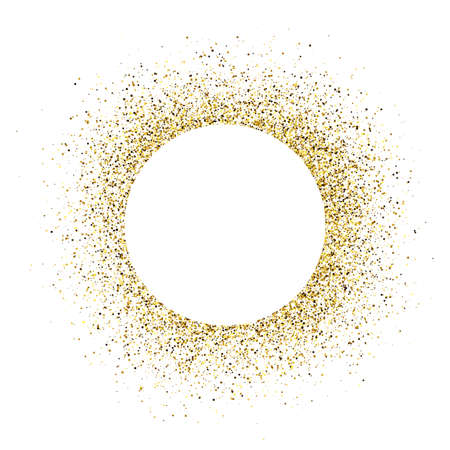 Greeting card with white round frame on golden glitter background. Empty white background. Vector illustration.