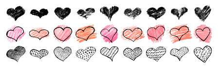 Hearts. Hand drawn hearts in doodle style on white background. Symbol of love and romantic. Vector illustration.