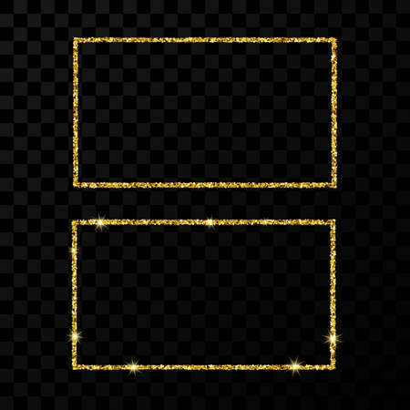 Gold rectangle frame. Two modern shiny frames with light effects isolated on dark transparent background. Vector illustration.
